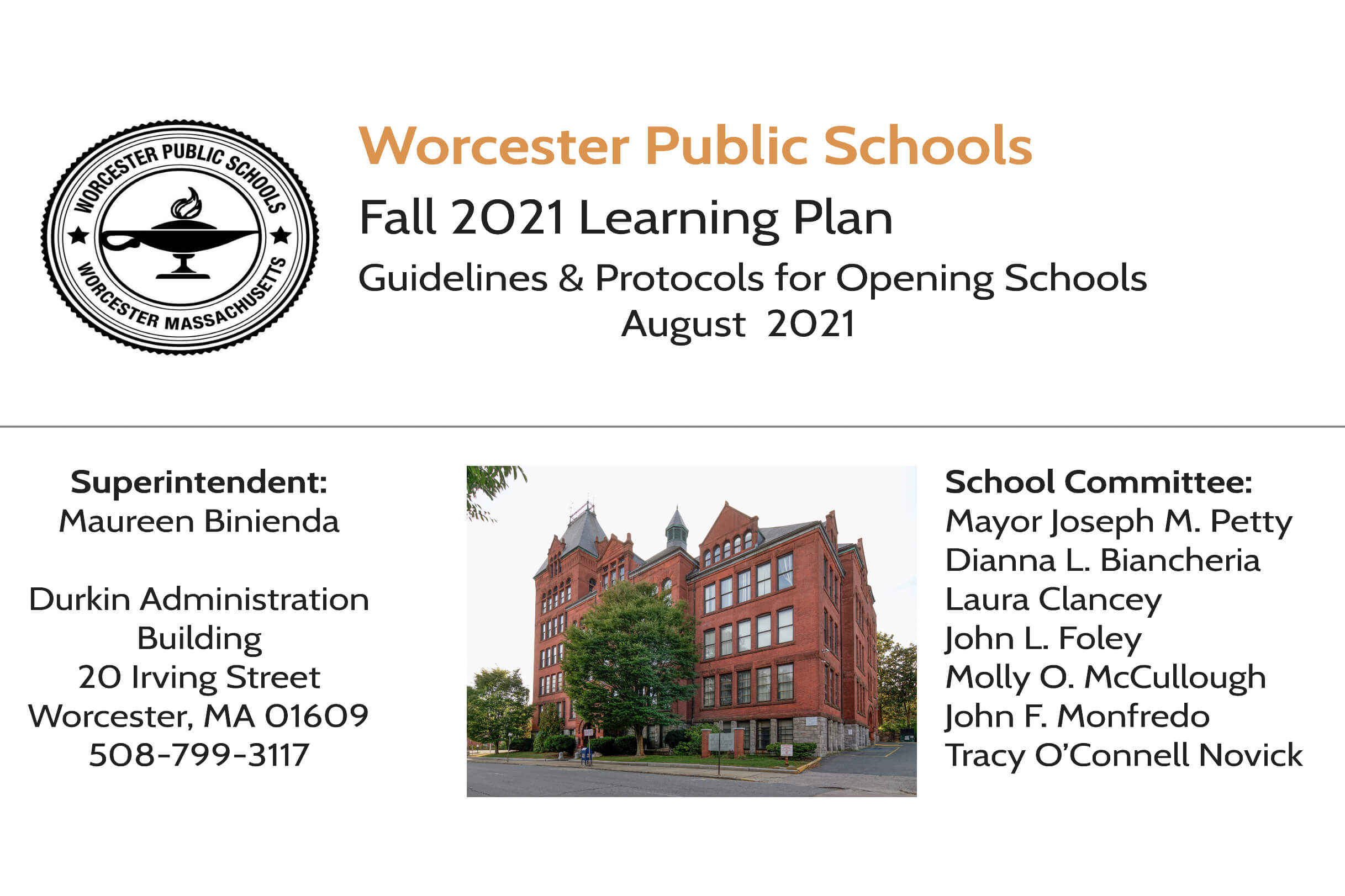 Fall 2021 School Reopening Plan cover